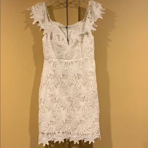 Lace Mini White Dress with Off the Shoulder